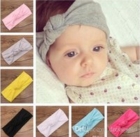 Wholesale Fashion Cute Infant Baby Kids Hair Bands Knot Knitted Cotton Elastic Headbands New Born Baby Hair Bands MC0440