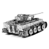 Building Metal Unisex Online shopping 3D Metal Puzzles Miniature Model DIY Jigsaws Remote Car Silver Model Educational Toys Gift for Kids german ww2 Tiger Tank
