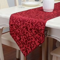 Wholesale red vine table runner short plush event and party supplies cm cm cm cm modern wedding decoration tablecloth