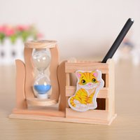 Wholesale Creative wooden craft boutique with single hourglass pen pen new year Christmas gifts factory