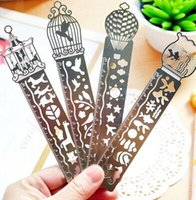 Wholesale Delicate cutout book mark ultra thin metal bookmark tape ruler brief book marker fashion bookmarks