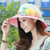 Wholesale The new ms big hat Sir Leather buckle pure color hat sunscreen in summer hats for men