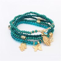 Wholesale Lucky Fatima Hamsa Hand Blue Evil Eye Charms Bracelets Bangles Multilayer Beads Turkish For WomenSL
