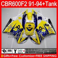 Comression Mold For Honda CBR600 F2 8Gifts 23 Colors For CORONA yellow HONDA CBR600F2 91 92 93 94 CBR600RR FS 1HM9 CBR 600F2 600 F2 CBR600 F2 1991 1992 1993 1994 yellow Fairing