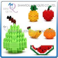 bananas models - DHL Mini Qute LOZ Fruit Pear Pineapple Orange Banana Apple plastic building block brick model Action Figures educational toy