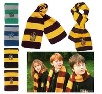 Wholesale 200Pcs Harry Potter Scarf Gryffindor School Unisex Knitted Striped Scarf Gryffindor Scarve Harry Potter Hufflepuff Cosplay Scarf
