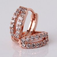 Wholesale Gracious lady earring k rose gold plated small huggie earrings round white crystal lady hoop earring E145b