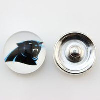 Wholesale Popular Ginger Snap Jewelry Carolina Panther Snap Button mm Glass American Football Team Snap Charms Fit For Women Bracelet Necklace