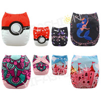 Wholesale 4 pieces Position Printed Elves ball Mermaid Castle Girl diaper Reusable One Size Cloth Diapers with Microfiber Insert pounds