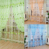 Wholesale LS4G M M Blue Green Orange Voile Curtain Chic Room Tulip Flower Sheer Curtain Home Decoration