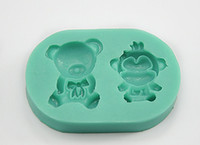 Wholesale Polymer clay mould silicone mould bear and Monkey shape with two whole on the mould PC