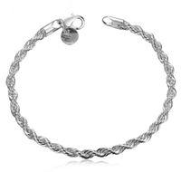 Wholesale Women Twisted Rope Bracelet Fashion Jewelry Charming Sterling Silver Hand Chain Bracelets Wristband Stylish