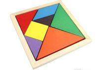 Wholesale Colorful Tangram Children Mental Development Tangram Wooden Jigsaw Puzzle Educational Toys for Kids intellectual Building Blocks