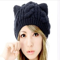 Grossiste-Mode Bonnet en laine en tricot en mouton Boucles d'oreilles en chat Gorros Beret Beanie Touca Bonnet Crochet Braided Ski Winter Hats for Girl