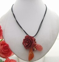 beautiful indian paintings - Beautiful Carnelian Red Quartz Red Painting Coral Flower Necklace