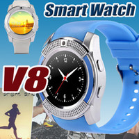 for Android Mutil-Language Dial Call V8 Smart Watch Bluetooth Watches Android With 0.3M Camera MTK6261D Smartwatch for android phone Micro Sim TF Card With Retail Box Free DHL