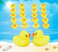 Wholesale 100PCS Kids Toddler Bath Time Floating Yellow Rubber Duck Squeaky Water Toys Play Fun Baby Children