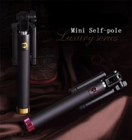 Wholesale Handheld Extendable Pocket Luxury Wired Selfie Sticks Built in Shutter Smart Integrated Selfie Monopod For iPhone Samsung Sony HTC LG