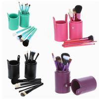 Precio de Almacenamiento de maquillaje de madera-Maquillaje cepillos 12 PCS púrpura Maquillaje cepillo cosméticos Set Sombra de madera cepillo Blusher herramientas con estuche de almacenamiento