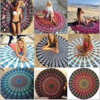 Wholesale Round Mandala Indian Tapestry Beach Towel Bikini Beach Cover Ups Bohemian Hippie Beachwear Beach Sarongs Shawl Bath Towel Yoga Mat B1536