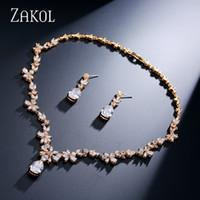 best jade jewelry - Fashion Jewelry Jewelry Sets ZAKOL Luxury Marquise Cluster Small Flower Drop Water Drop Shape Cubic Zirconia Women Jewelry Set Best For
