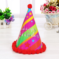 assorted coloured paper - New Pattern Pompon Birthday Hat Party Supplies Adult Paper Craft Festive Party Photograph Items Birthday Party Decorations Assorted Colour