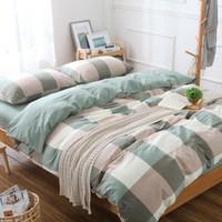 al por mayor suite queen-Primavera y verano nuevo hilo de algodón lavado teñido de cuatro juegos de clásico artículo rejilla de la cama Suite minimalista