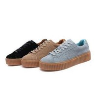 Wholesale 2017 Newest Hot sell Cheap Famous Rihanna SUEDE CREEPER Creeper Suede Grey white Womens Mens sports running shoes trainers Size