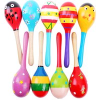 Wholesale Sand hammer Birthday present Christmas baby toys Piece Random Colorful Cute sound Music Gift Toddler Rattle Musical Wooden