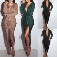 Wholesale Fashion Long Party Dresses Dark V Long Sleeve Slim Sexy Mid Calf Runway Dresses Spring Solid Women Clothing Brand Style Plus Size