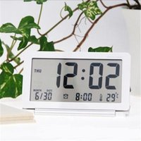 Wholesale Hot sell Ultra thin travel digital table clock Slim LCD Alarm Clock mute folding portable fashion electronic Thermometer
