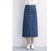 Wholesale Fashion Women Denim Skirts Long Skirt High Waist Jeans Skirts Jeans Feminina Casual A Line Skirt