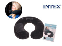 Wholesale INTEX black color pvc inflatable travel pillow neck pillow U shape air cushion high quaity flocked material comfortable