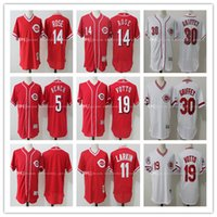 banc johnny achat en gros de-Men's Cincinnati Reds Johnny Bench # 5 jersey, Pete Rose # 14, Joey Votto # 19, Ken Griffey Jr # 30, Larkin # 11, Sabo # 17 Maillots de baseball cousus