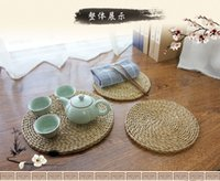 bamboo teapot - Teapot coaster pad rattan straw circular tableware heat insulation pad plate bowl China s wind tea care large anti hot pot pad
