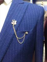 2017 Image en stock Nouveaux Groom Tuxedos Mans Prom Suits Suit de Mariage pour Hommes Best Man Tuxedos Slim Fit Blue (Veste + Pantalon + veste)