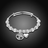 Beaded, Strands Celtic Women's New Arrival Western Style Jewelry Wholesale Love Heart Tree Pendant Platinum Plated Beaded Bracelet Exclusive Female Birthday Wedding Gift