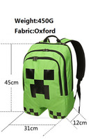 Wholesale minecraft back pack students school bag green creeper back pack