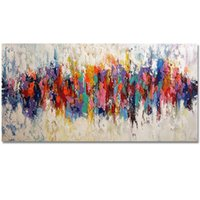 One Panel acrylic paintings on canvas - KGTECH Modern Abstract Colorful Oil Paintings Handmade on Canvas Art Decor Multi Color Acrylic Artwork Unframed
