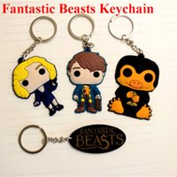 Wholesale 100pcs Fantastic Beasts and Where to Find Them Keychains Women Men Pendant Newt Queenie Key Ring Niffler Harry Potter Gift