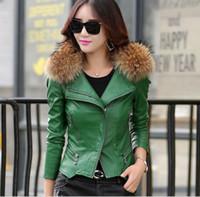 Wholesale Real fur collar Leather jacket women Coat female outerwear spring autumn red Plus size XL women parka Coat fashion coats