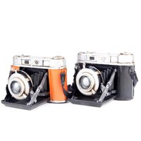 Wholesale Drop Shipping Iron Sheet SLR Cameras Old Object Model Decoration Camera Model Black and Orange Color Home Decorations