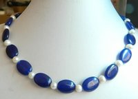Beaded Necklaces aa sapphire - gt gt gt NEW AA Beautiful x18mm Oval Sapphire Natural Pearl Necklace quot