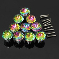 Wholesale Diamond Shape Colorful Bauhinia Crystal Glass mm Cupboard Cabinet Dresser Drawer Wardrobe Door Knobs Handle Pull Knob screw Home Decor