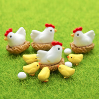 Carved art chickens - 16pcs Chicken Breed Hen Family Bonsai Tools Fairy Garden Decoration Miniatures Resin Terrarium Figurines Jardin Micro Landscape