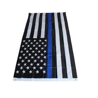 Wholesale Custom cm BlueLine USA Police Flags x5 Foot Thin Blue Line USA Flag Black White Blue American Flag With Brass Grommets