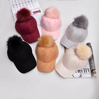 Wholesale New hot Korean fashion ball suede baseball cap Damao hip hop candy color lady Winter Hat