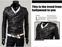 Wholesale 2016 New Men s Slim Lapel Unsymmetric Slanting Zipper Leather Motorcycle Jacket coat overcoat High quality color P09