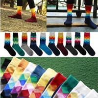 Wholesale Casual Mens Cotton Colorful Happy Socks Harajuku Gradient Color Business Dress Socks Diamond Plaid Long Socks calcetines