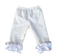 baby capri leggings - 2016 Rushed Promotion Girl Baby Girls Seersucker Cotton Icing Ruffle Capri Pants Children Solid Color Leggings Kids Chic Boutique